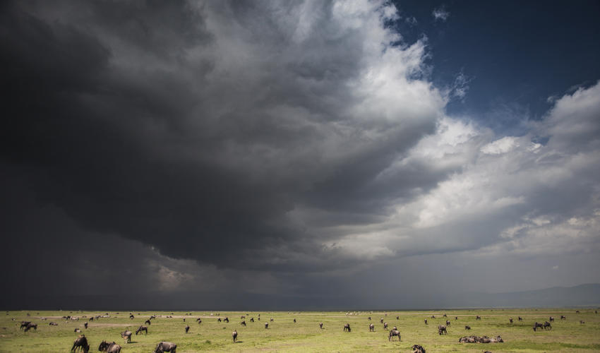 Dramatic skies over the Ngorongoro Crater