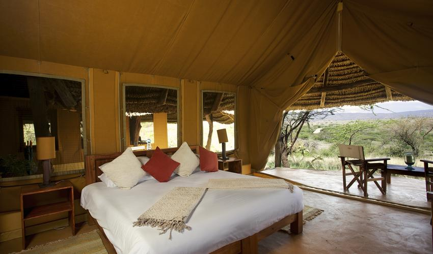 Luxury accommodations in a double tent
