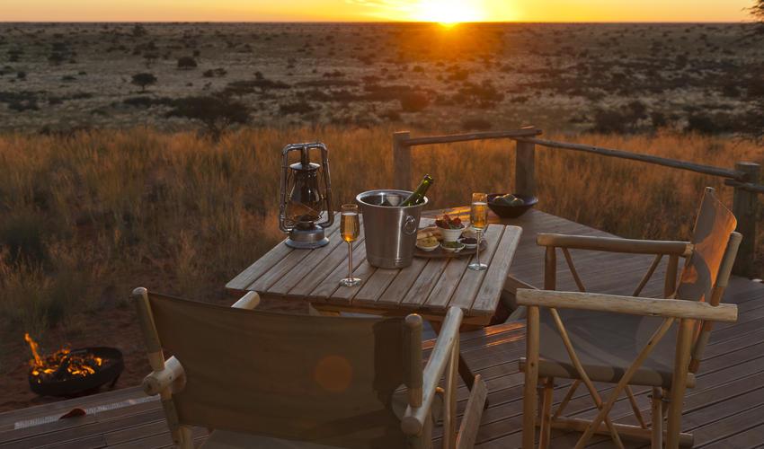 Sundowners at the Malori sleep-out deck