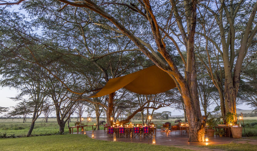 The deck is the prime game-viewing spot at Sirikoi, with views over the waterhole, natural wetland and the green lawns around the lodge