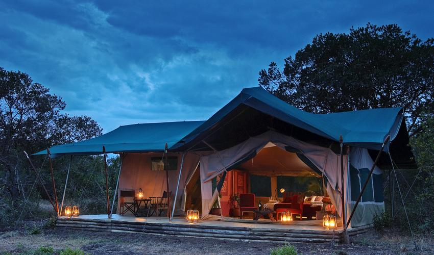 Kicheche Laikipia guest tent at night