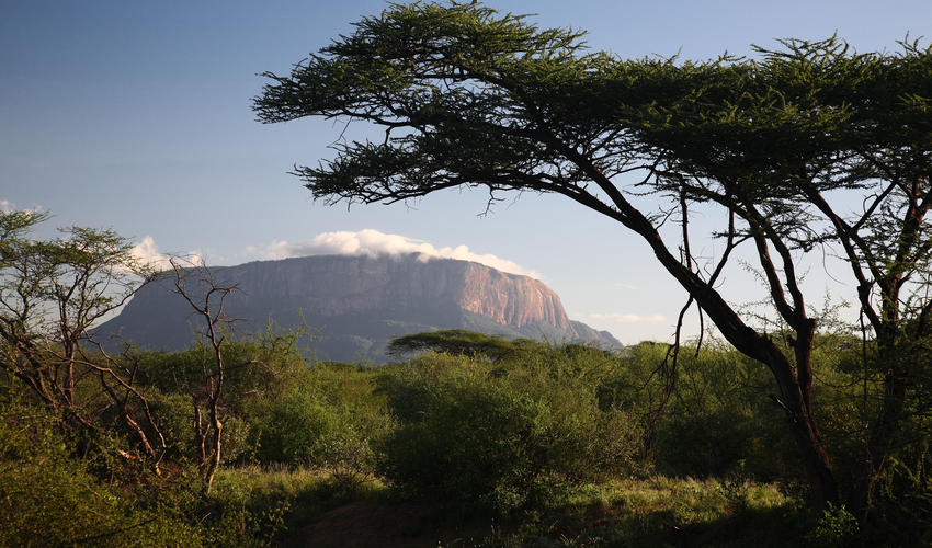 View of Mount Ololokwe - Samburu sacred mountain