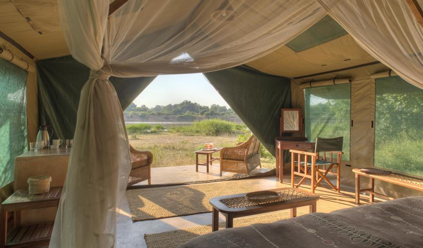 One of seven ensuite tents, six facing the river, one honeymoon tent on the lagoon behind camp.