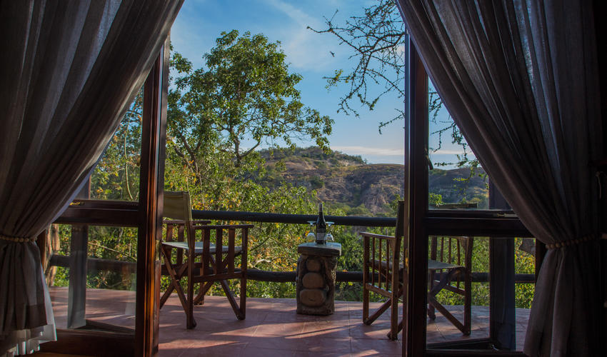 The view from bed in the early morning from Bhejane
