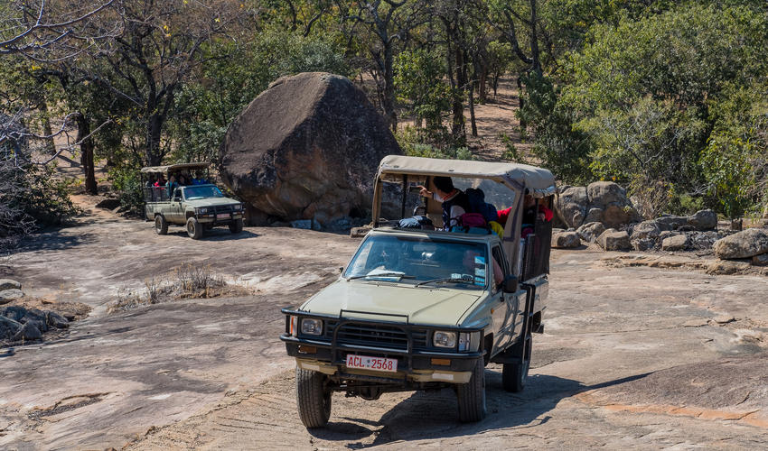 A real thrill is to sit in the 4 x 4 and drive up the rock to the lodge at the top of the kopje