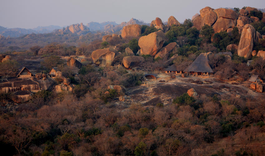 View of the lodge and Big Cave property, with the National Park in the background.