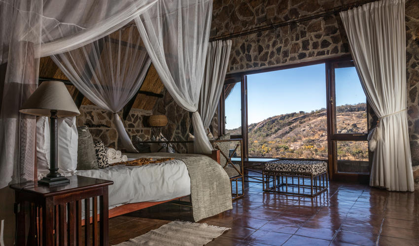 Ntwane our honeymoon suite has a magnificent view across the Matobo National Park