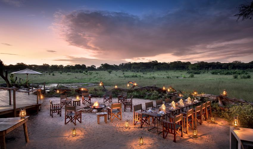 Beautifully lit dinner at the boma