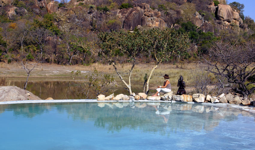 The beautiful infinity pool, carved into the granite rock offers you the opportunity to relax & refresh in its cool waters or on the comfortable sunbeds, with breathtaking views over the Matobo Hills and the waterhole below. Situated next to the sunset lounge, which holds the safari spa where guests can pamper themselves with a range of treatments from full body massages to facials, pedicures & manicures.