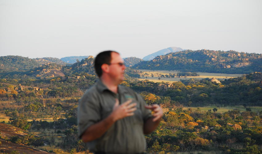Majestic view of the Matobo Hills whilst Camp Amalinda's specialist guide, Paul Hubbard, tells the tales of bygone eras.