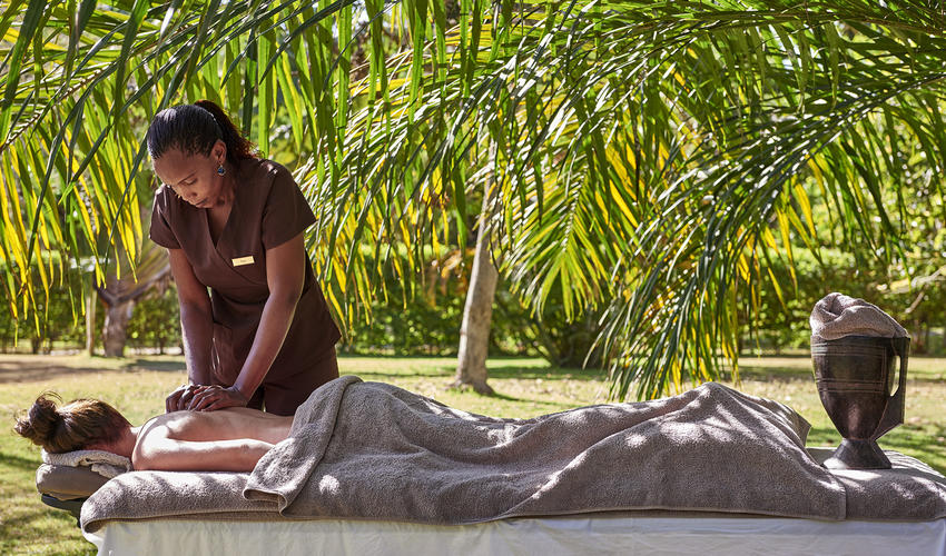 A massage in the garden at Legendary Lodge