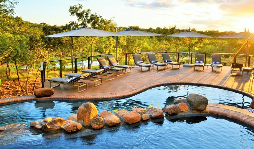 Victoria Falls Safari Club double layer pool