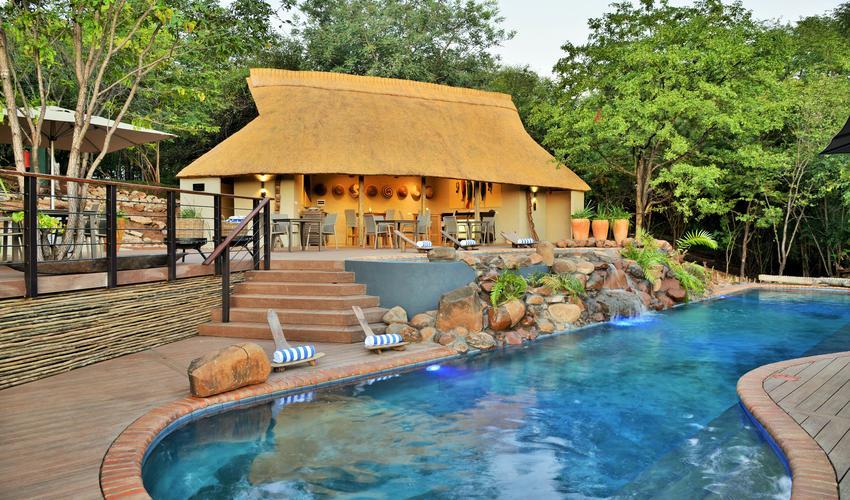 Victoria Falls Safari Club pool and Gazebo