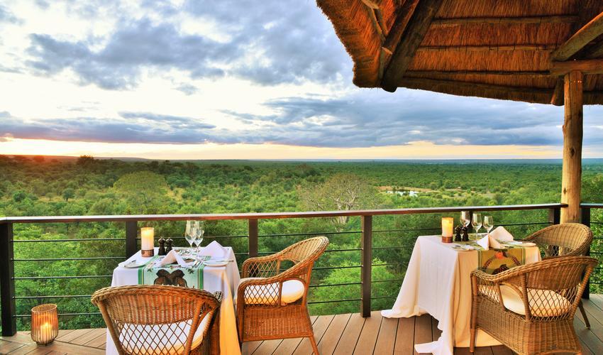 Victoria Falls Safari Club deck with a view