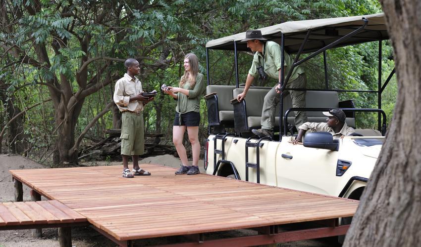 Raised walkways from activities platform all through camp