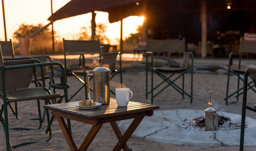 Start your day off with freshly brewed coffee or tea at the campfire