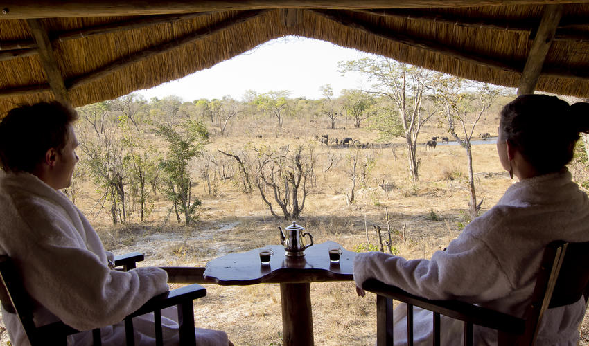 Each room at Khulu Lodge has its own private deck over looking the watering hole on Khulu's private concession - What better way to have your morning coffee or afternoon tea.
