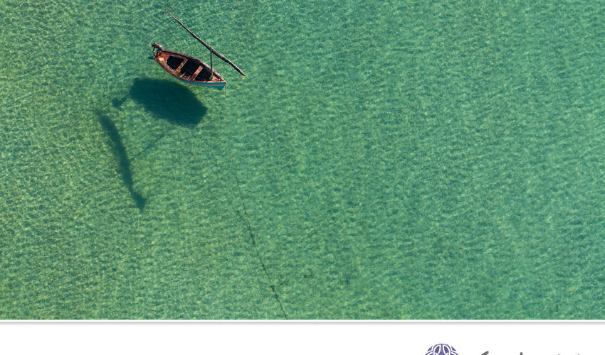 Aerial view of a Dhow over the Bazaruto Archipelago.
