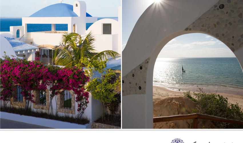 Exterior and View onto the beach, Santorini, Mozambique