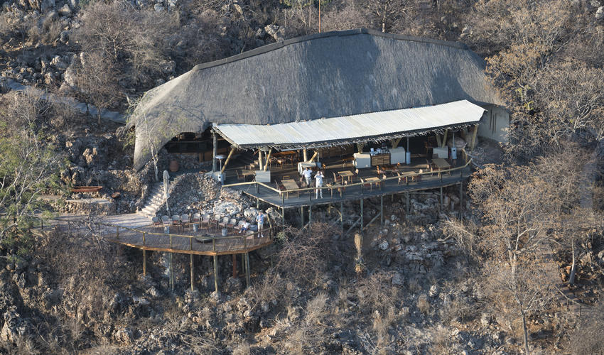 Bird's-eye view of the main area and fire place