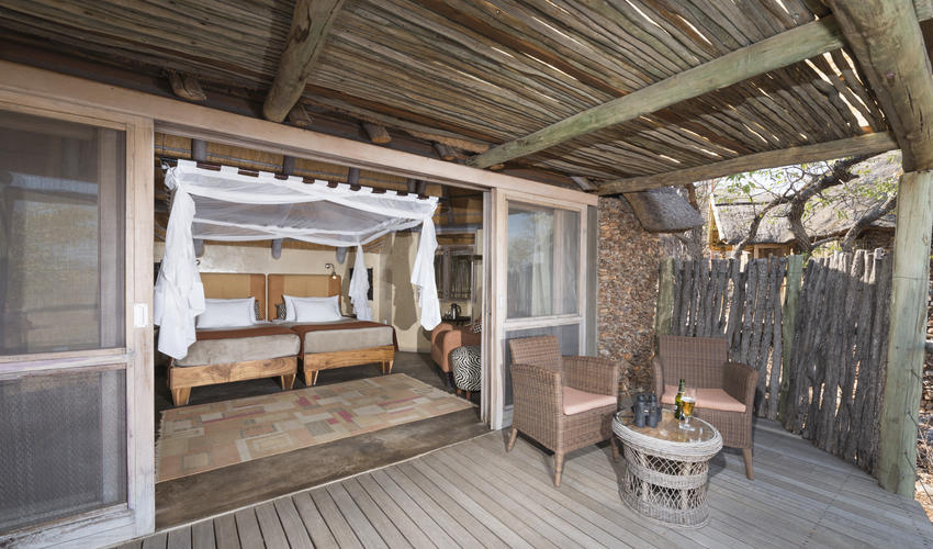 Guest unit interior and balcony