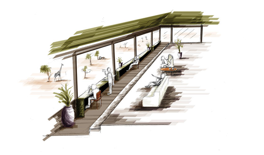 Social area, open-air dining and spacious lounge