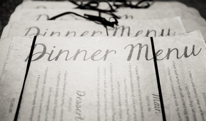 Dinner menu A La Carte