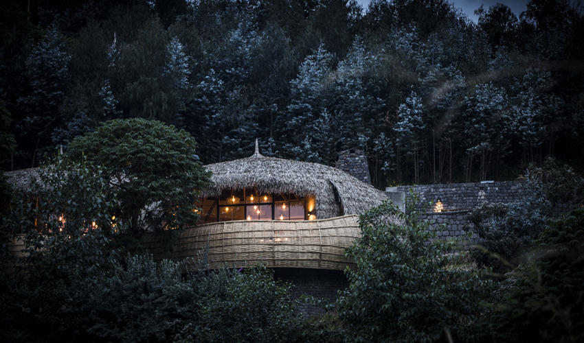 Bisate's sophisticated architectural design is rooted in Rwandan building tradition
