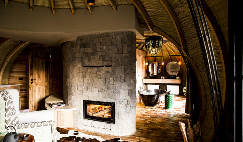 Cosy fireplaces are standard in each Forest Villa