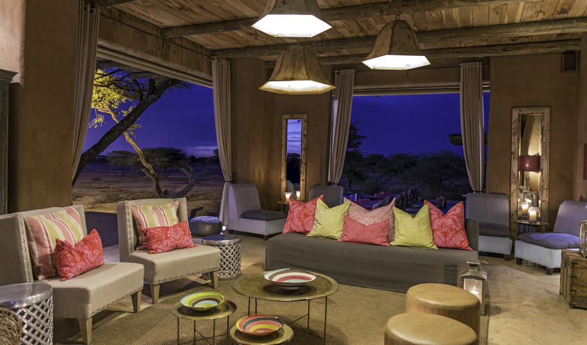 Areas for guests to relax in at Onguma The Fort