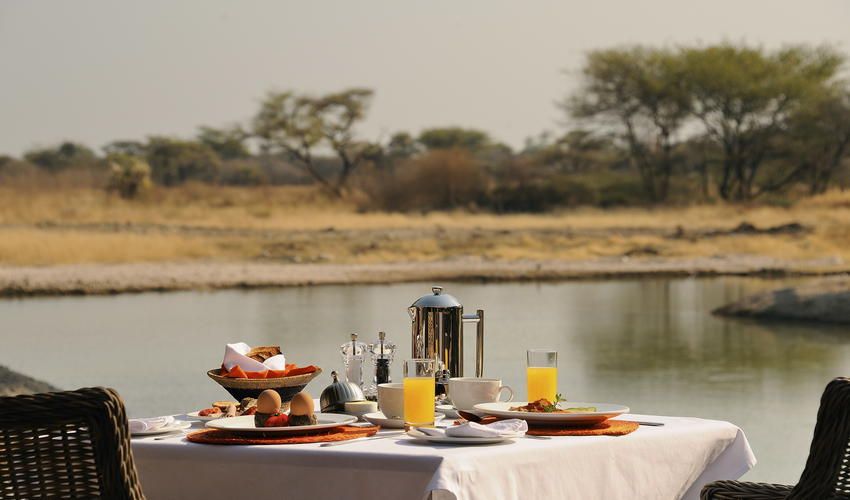 Breakfast with a view at Onguma Bush Camp!