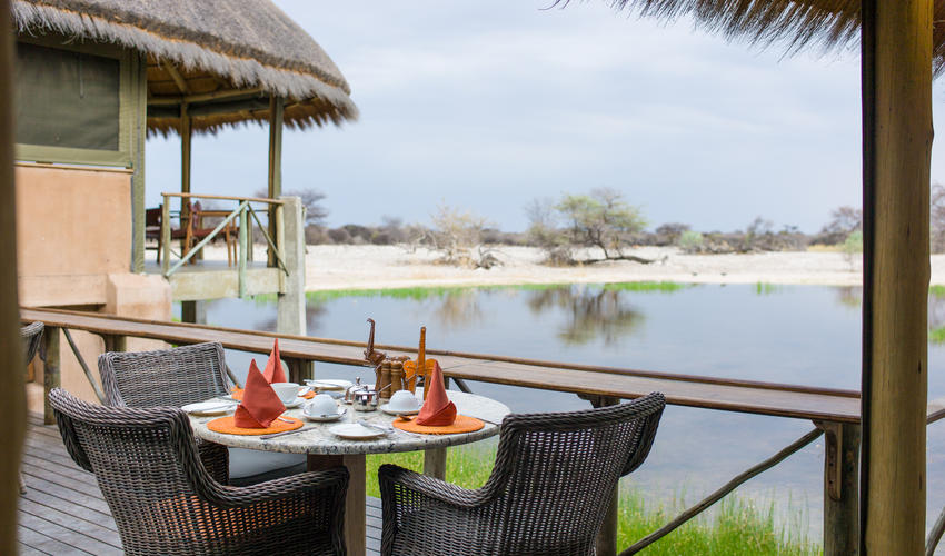 Breakfast overlooking the waterhole