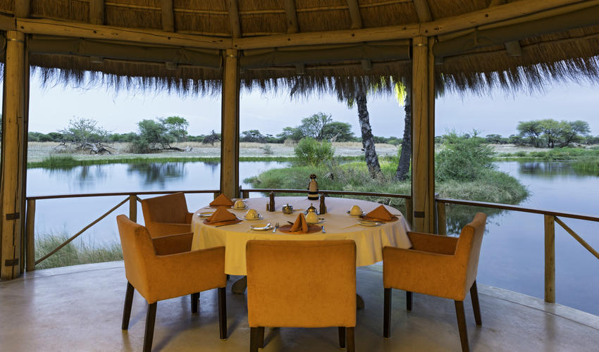 Dining at Onguma Bush Camp overlooking the waterhole
