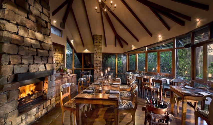 The beautiful glass-walled Tsala dining room