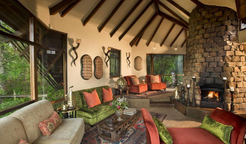 The Tsala Main Lodge lounge area