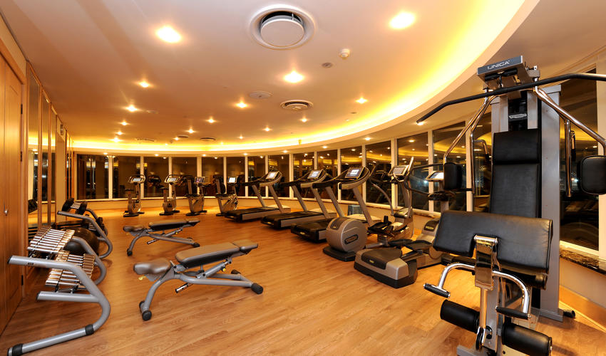 Gym located on top floor, open 24 hours to hotel guests
