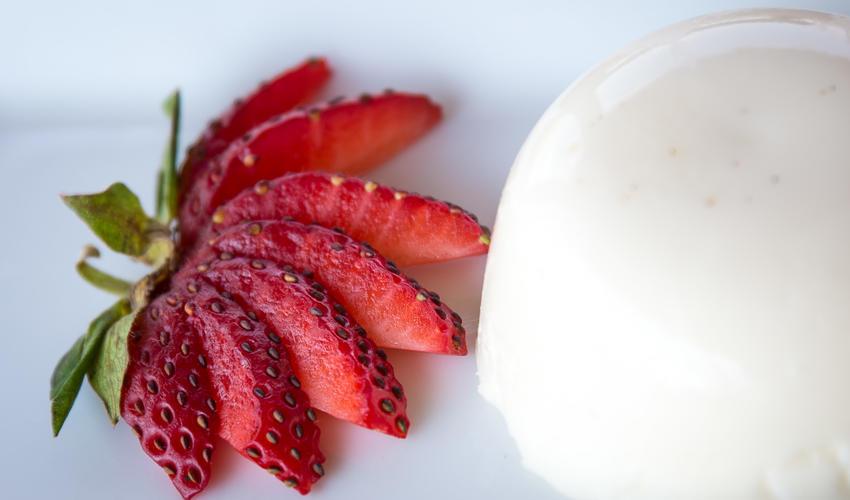 Fresh strawberry panna cotta