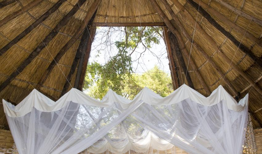 Each chalet has 2 mosquito net protected skylights for one to feel like they are sleeping under the stars