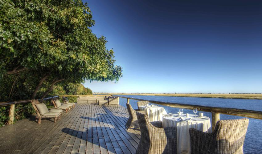 The Chobe Deck overing expansive views of the Chobe River and floodplains offering exceptional game viewing opportunities.