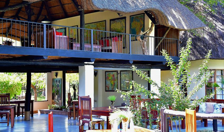 Dining downstairs, lounge upstairs overlooking the Zambezi