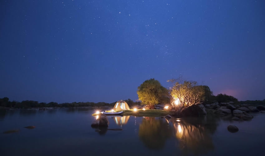 Island sleep-out at the end of a canoe trail