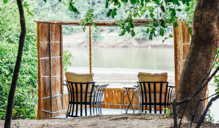 Private Deck in front of each chalet, over hanging the Luangwa River