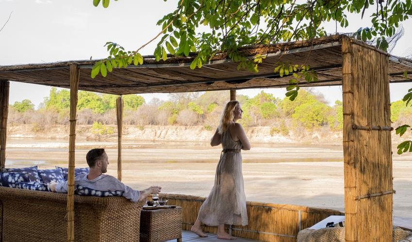 Spacious Private Deck, to cater for larger parties, which over hanging the Luangwa River