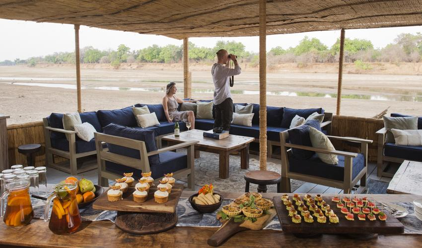 Lower Deck over the Luangwa River where afternoon tea is held