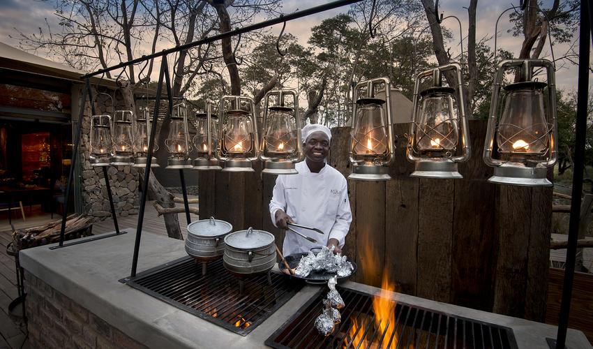 Cook at the outdoor lounge area