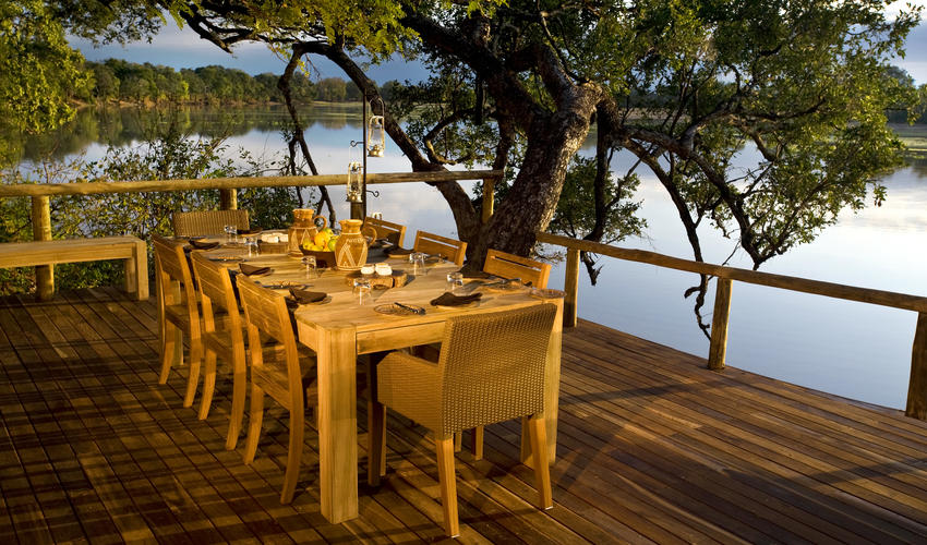 Dining table overlooking the water