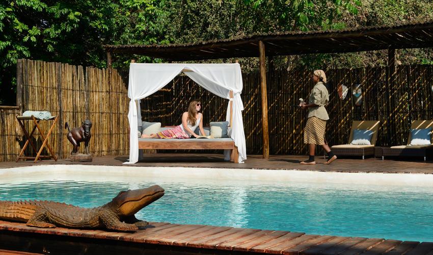 Chiawa has a gorgeous pool and sundeck overlooking the Zambezi