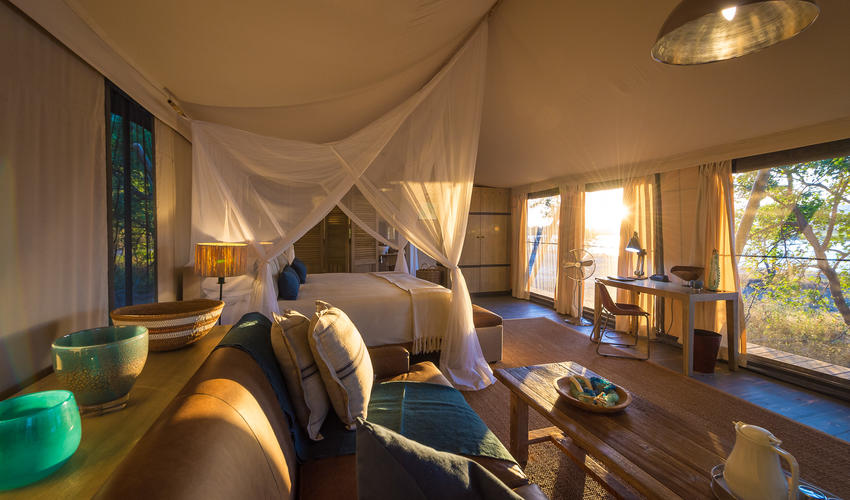 The luxurious guest tents are spacious and inviting