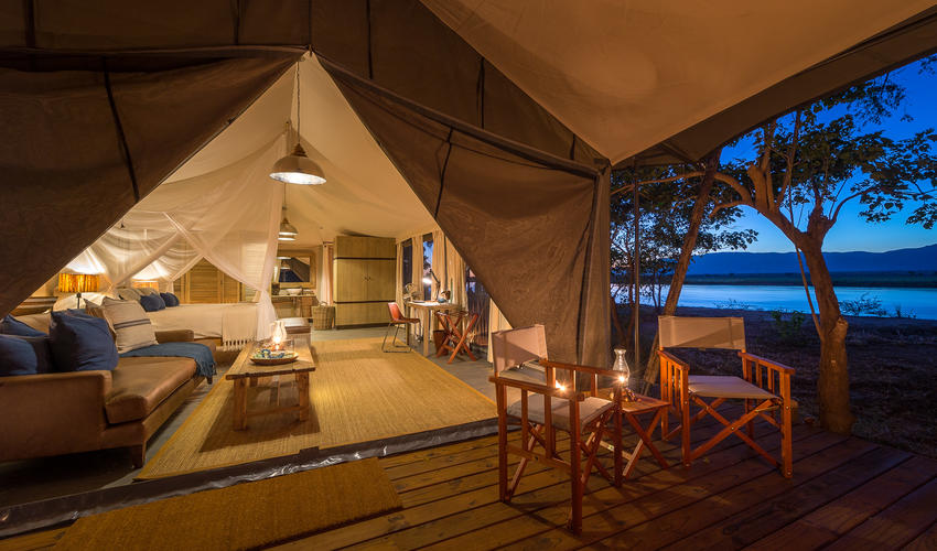 Guest tents overlook the Lower Zambezi River