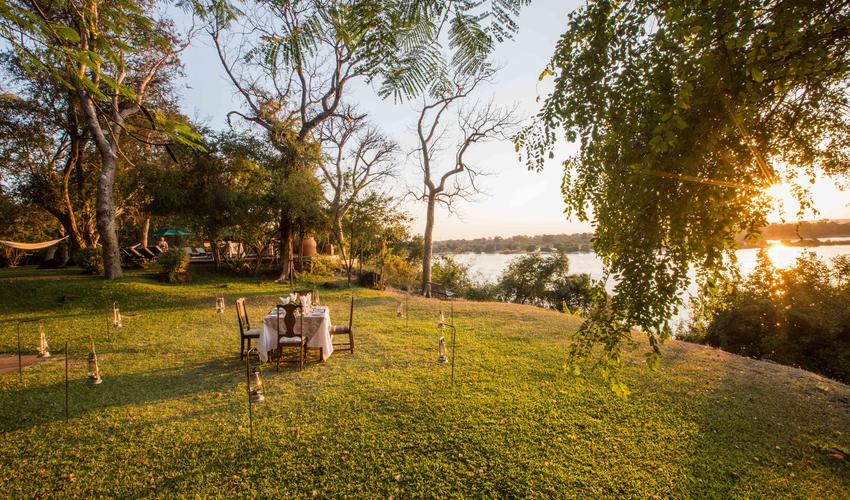 Dinner overlooking the Zambezi River
